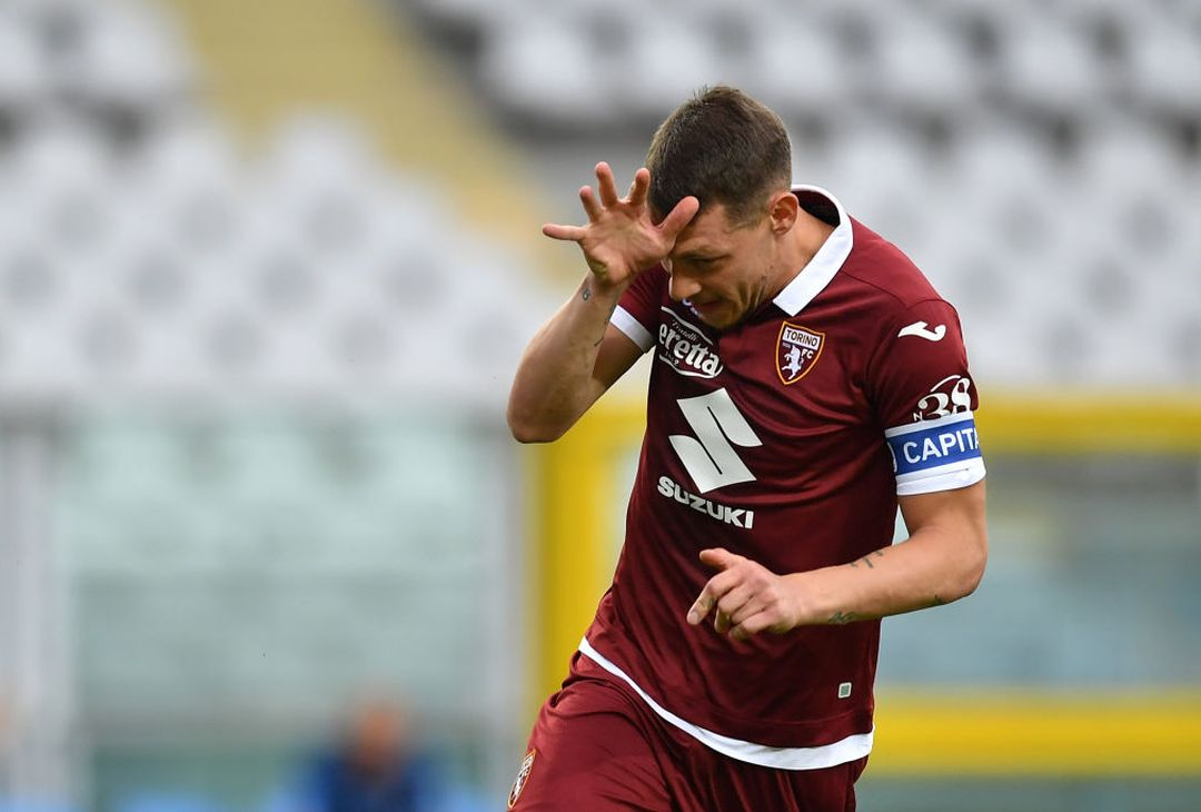 TURIN, ITALY - JUNE 30:  Andrea Belotti of Torino FC celebrates after scored his goal from the penalty spot during the Serie A match between Torino FC and  SS Lazio at Stadio Olimpico di Torino on June 30, 2020 in Turin, Italy.  (Photo by Valerio Pennicino/Getty Images)
