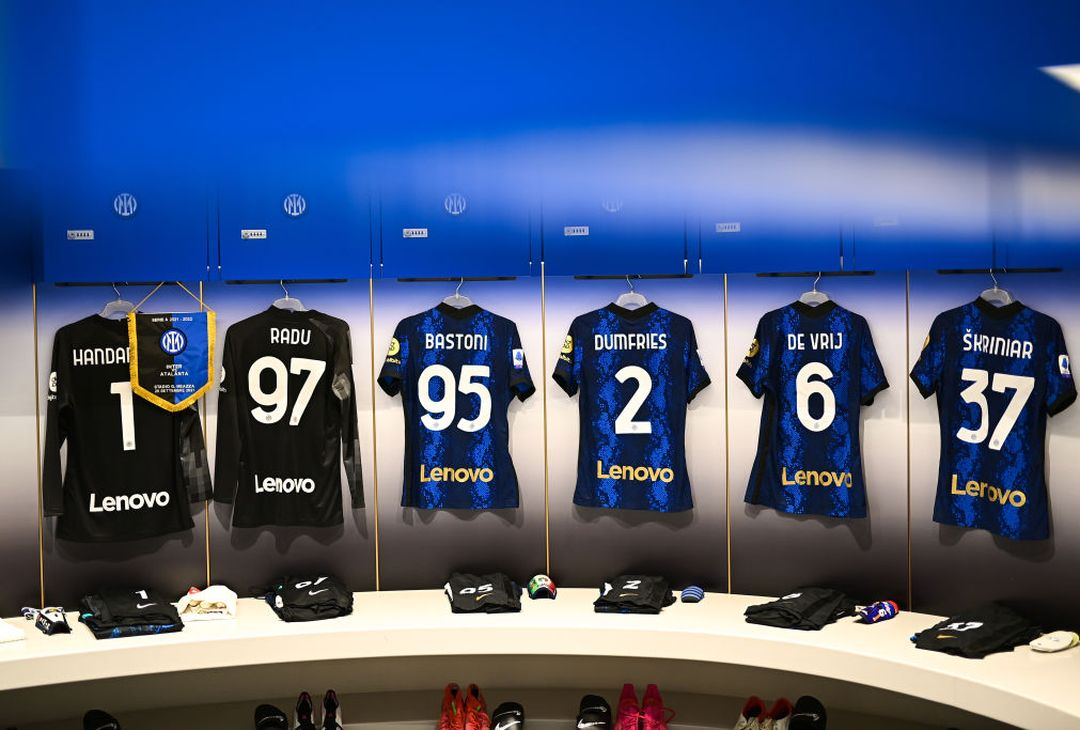 MILAN, ITALY - SEPTEMBER 25: General view inside the dressing room prior to the Serie A match between FC Internazionale and Atalanta BC at Stadio Giuseppe Meazza on September 25, 2021 in Milan, Italy. (Photo by Mattia Ozbot - Inter/Inter via Getty Images)
