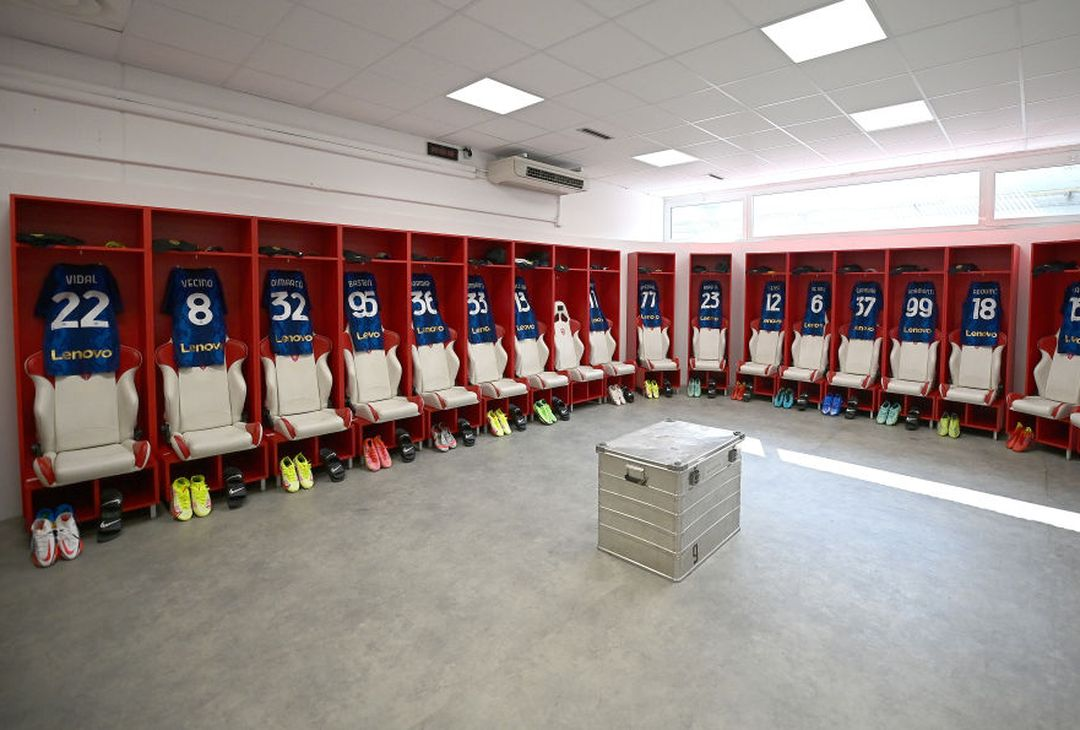 MONZA, ITALY - AUGUST 14: General view inside the dressing room prior to the pre-season friendly match between FC Internazionale and Dinamo Kiev at U-Power Stadium on August 14, 2021 in Monza, Italy. (Photo by Mattia Ozbot - Inter/Inter via Getty Images)