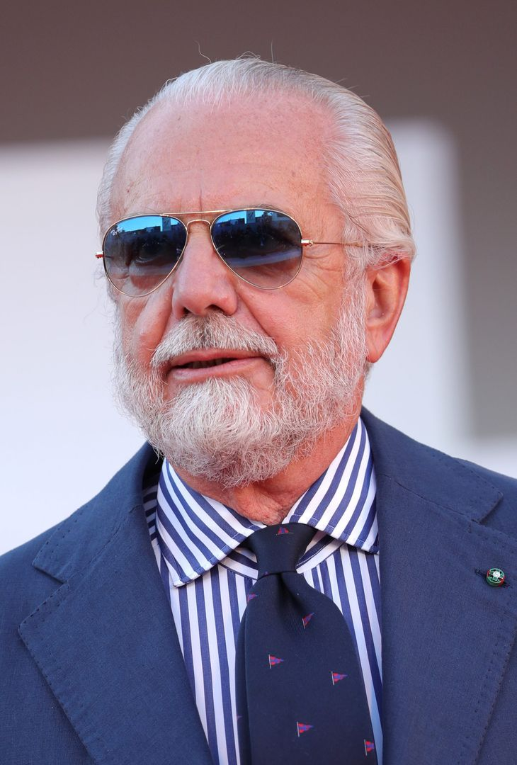 """VENICE, ITALY - SEPTEMBER 08: Aurelio De Laurentiis attends the red carpet of the movie """"Freaks Out"""" during the 78th Venice International Film Festival on September 08, 2021 in Venice, Italy. (Photo by Vittorio Zunino Celotto/Getty Images)"""