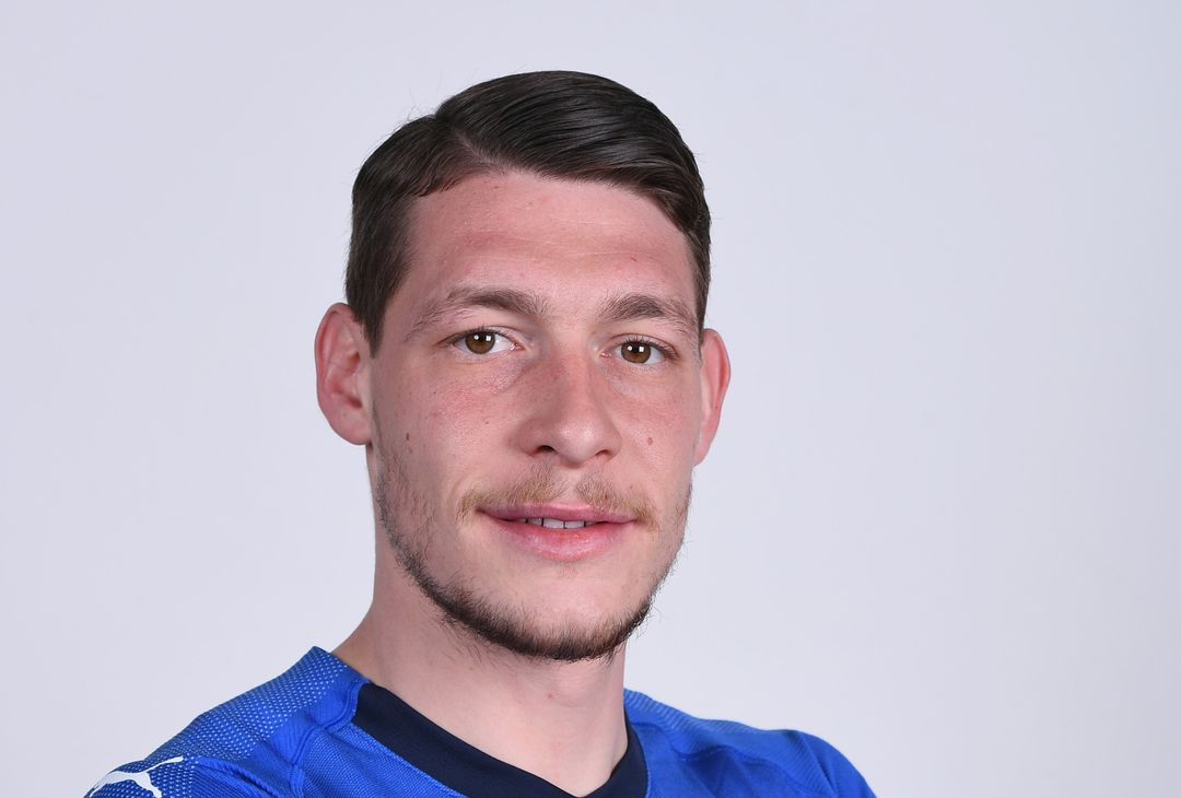 FLORENCE, ITALY - MARCH 19:  Andrea Belotti of Italy poses during the official portrait session at Centro Tecnico Federale of Coverciano on March 19, 2018 in Florence, Italy.  (Photo by Claudio Villa/Getty Images)