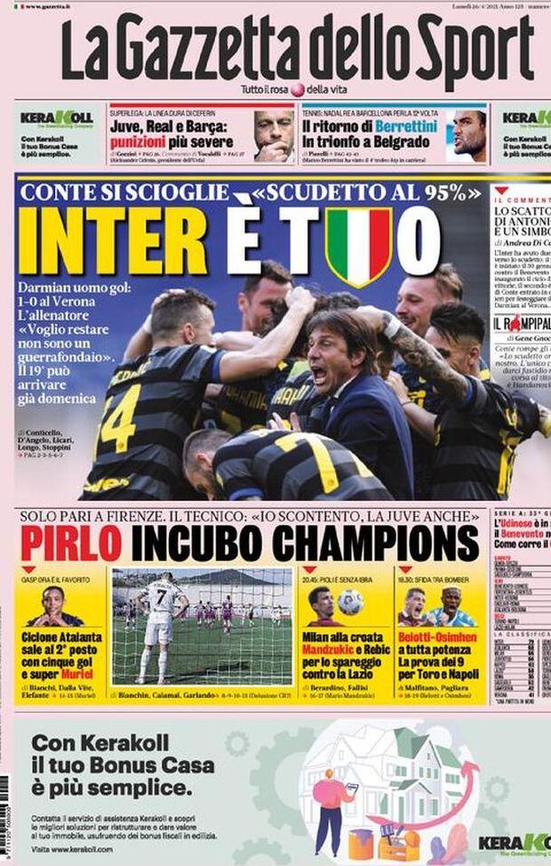 Gazzetta Dello Sport La Prima Pagina Di Oggi 26 Aprile 2021 Pianeta Milan
