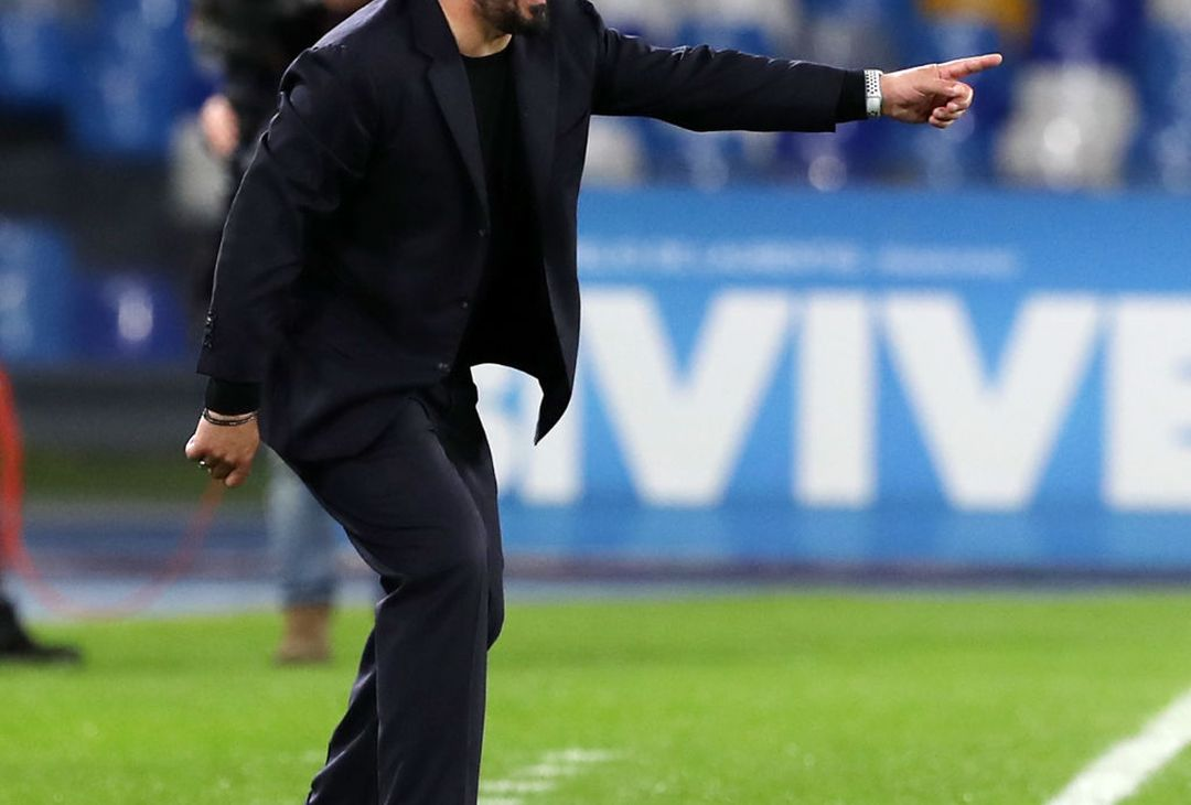 NAPLES, ITALY - FEBRUARY 29: Gennaro Gattuso SSC Napoli coach gestures during the Serie A match between SSC Napoli and  Torino FC at Stadio San Paolo on February 29, 2020 in Naples, Italy. (Photo by Francesco Pecoraro/Getty Images)