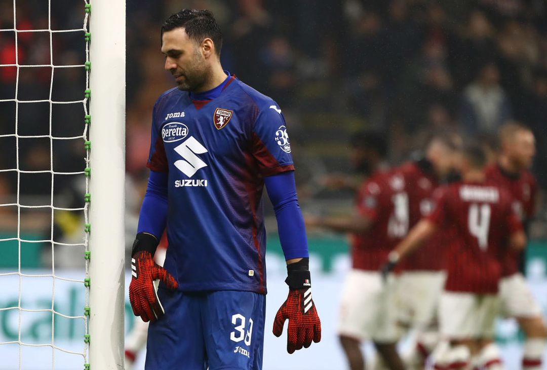 MILAN, ITALY - FEBRUARY 17:  Salvatore Sirigu of Torino FC shows his dejection during the Serie A match between AC Milan and Torino FC at Stadio Giuseppe Meazza on February 17, 2020 in Milan, Italy.  (Photo by Marco Luzzani/Getty Images)